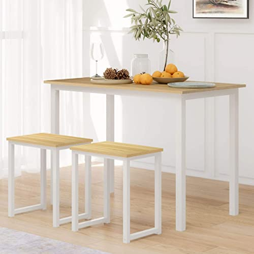 Two Stools Home Kitchen Breakfast Table, Studio Collection 3 Piece Furniture Set