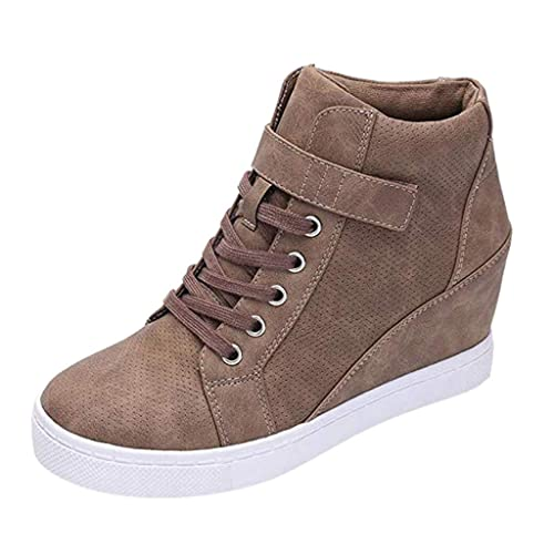 Kauneus Womens Quality Leather Lace Up Sport Shoes Spliced Color Soft Comfortable Anti-Slip Wedges Outdoor Sneakers