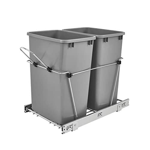 Buy Rev A Shelf Rv 18kd 17c S Double 35 Quart Sliding Pull Out Waste Containers Garbage Trash Recycling Bins For Kitchen Cabinets Gray Online In Guatemala B005i61x7a