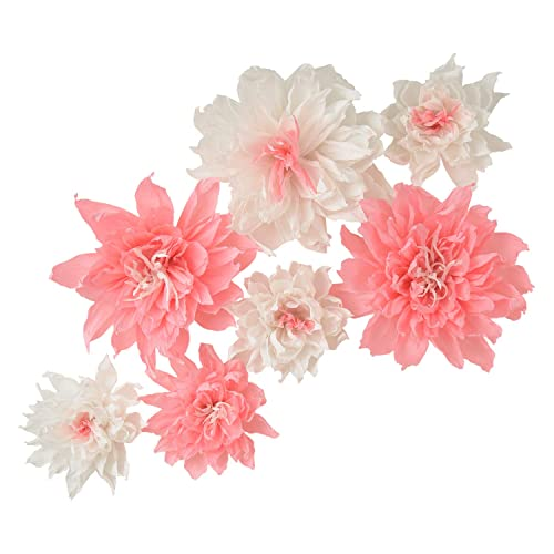Buy Paper Flower Decorations Giant Paper Flowers Slight Pink White Set Of 7 8 12 Giant Paper Flowers For Wedding Nursery Wedding Decoration Baby Shower Wall Backdrop Decoration Bridal Party Online In Guatemala B082f6nlzt