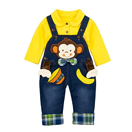 Chumhey Baby Girls//Boys 2Pc Cardigan Overalls Jeans Clothing Set