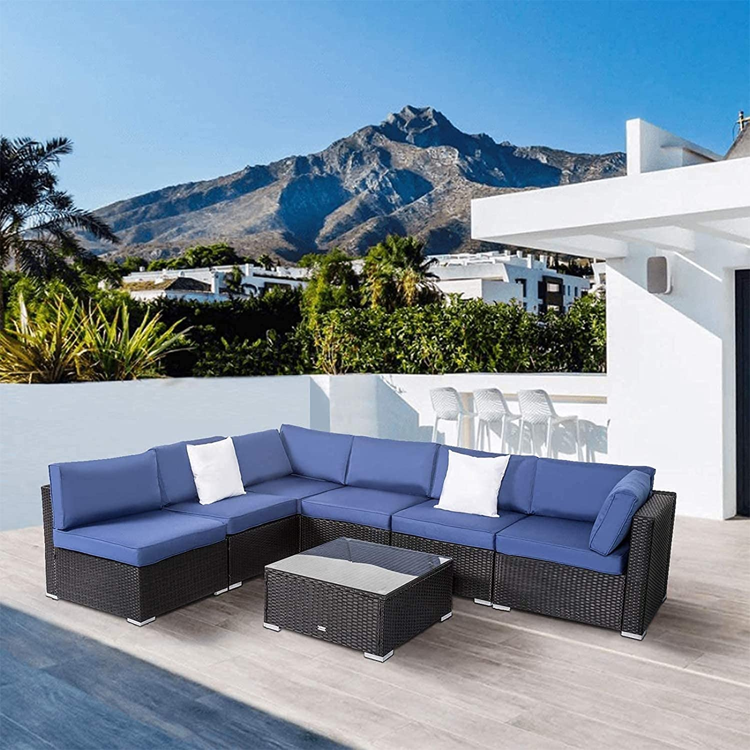 Buy Peach Tree Outdoor Furniture All Weather Sectional Wicker Sofa ...