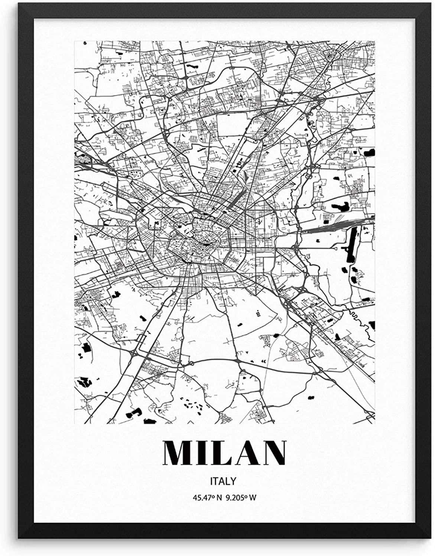 Buy Milan City Grid Map Art Print Italy Cityscape Road Map Wall ...